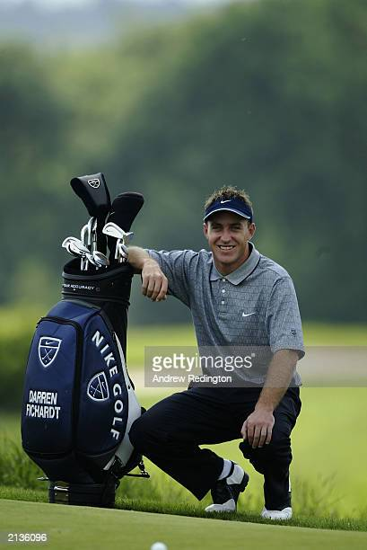 Darren Fichardt of South Africa with his Nike bag during the Proam of the Wales Open on May 28 2003 at the Celtic Manor Hotel and Golf Resort in...