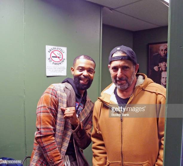 Darren Fleet and Rich Vos backstage at Stress Factory Comedy Club on December 2, 2020 in New Brunswick, New Jersey.
