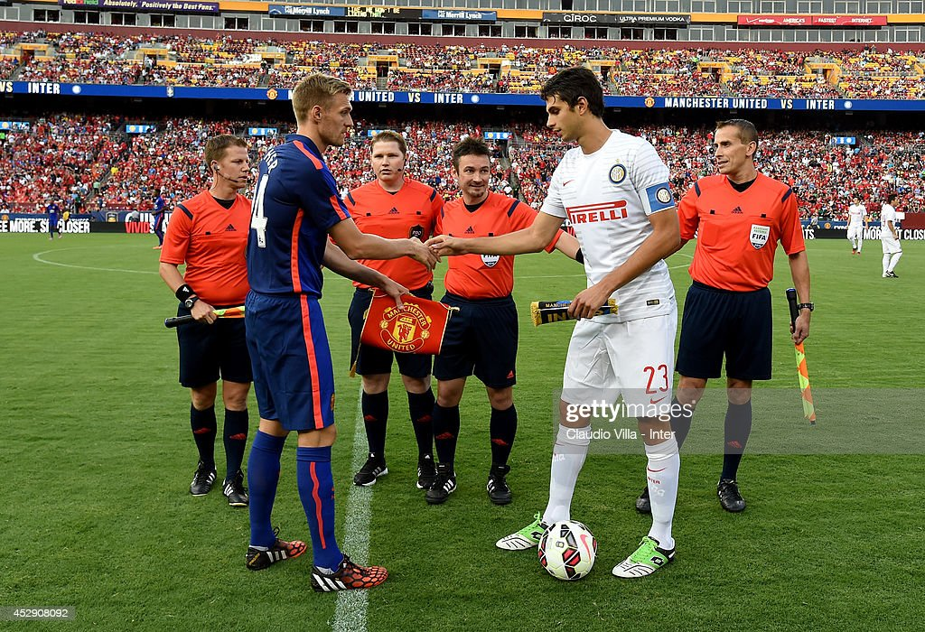 Darren Fletcher of Manchester United and Andrea Ranocchia of Inter Milan #23 during the pre-season friendly between Manchester United and Inter Milanat FedExField on July 29, 2014 in Landover, Maryland.