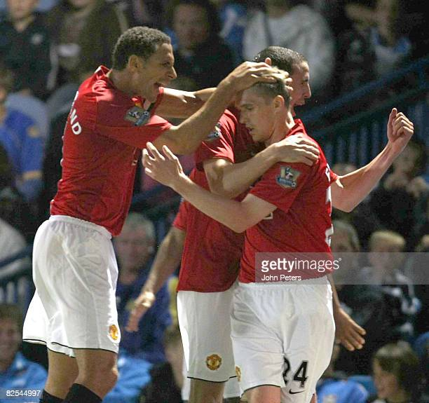 Darren Fletcher of Manchester United celebrates scoring Manchester United's first goal during the FA Premier League match between Portsmouth and...