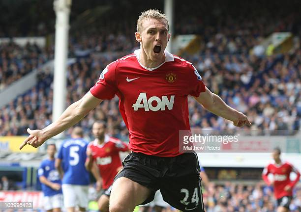 Darren Fletcher of Manchester United celebrates scoring their first goal during the Barclays Premier League match between Everton and Manchester...
