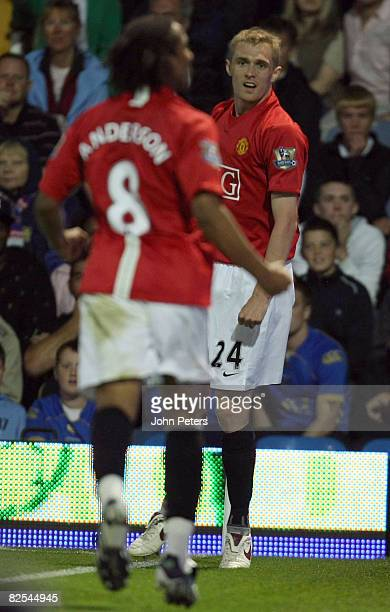 Darren Fletcher of Manchester United celebrates scoring their first goal during the FA Premier League match between Portsmouth and Manchester United...