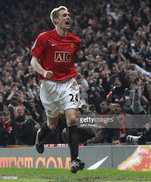 Darren Fletcher of Manchester United celebrates scoring their fourth goal during the FA Cup sponsored by e.on Fifth Round match between Manchester...