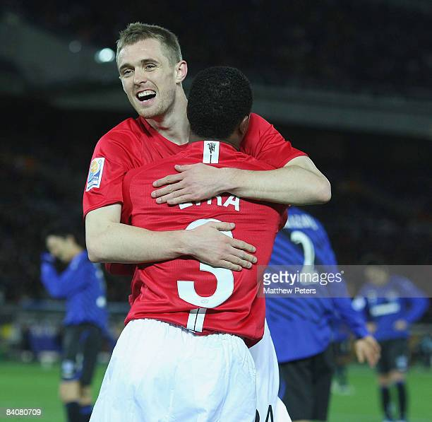 Darren Fletcher of Manchester United celebrates scoring their fourth goal during the FIFA World Club Cup Semi-Final match between Gamba Osaka and...