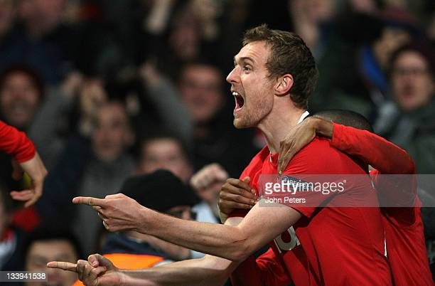 Darren Fletcher of Manchester United celebrates scoring their second goal during the UEFA Champions League Group C match between Manchester United...
