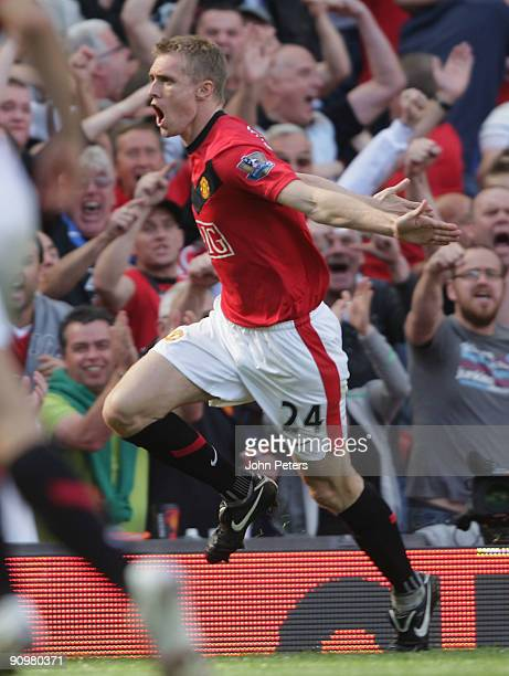Darren Fletcher of Manchester United celebrates scoring their second goal during the FA Barclays Premier League match between Manchester United and...
