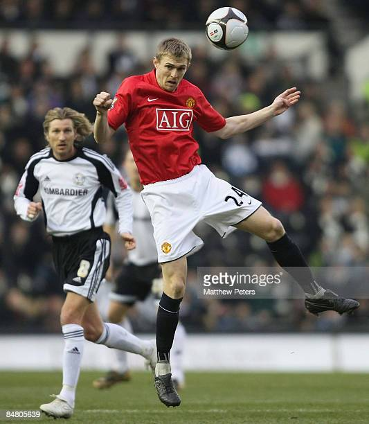 Darren Fletcher of Manchester United during the FA Cup sponsored by eon Fifth Round match between Derby County and Manchester United at Pride Park on...