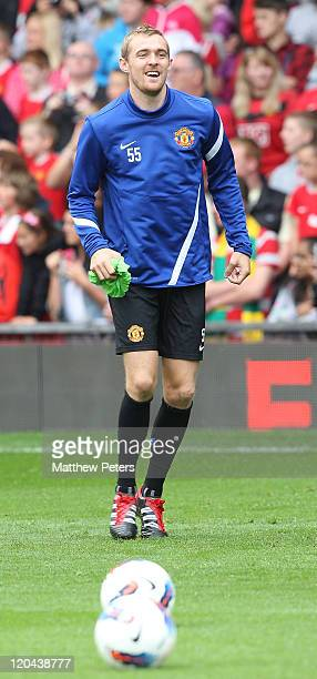 Darren Fletcher of Manchester United in action during a first team open training session at Old Trafford on August 6, 2011 in Manchester, England.
