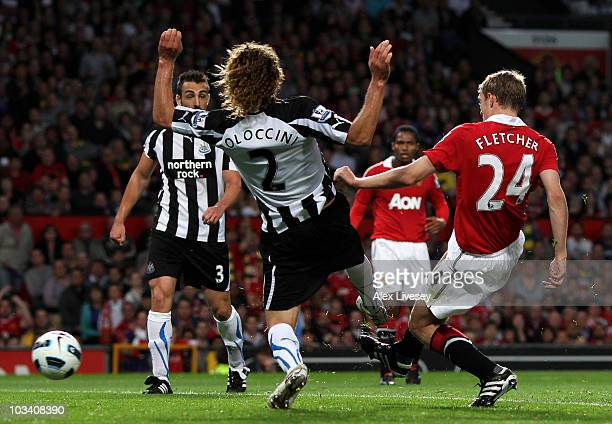 Darren Fletcher of Manchester United scores his team's second goal during the Barclays Premier League match between Manchester United and Newcastle...
