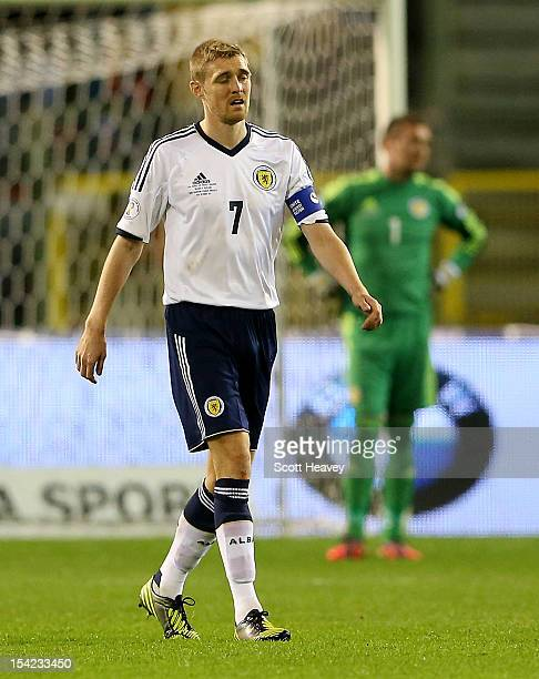 Darren Fletcher of Scotland looks dejected after conceding their second goal during the FIFA 2012 World Cup Qualifier match between Belgium and...