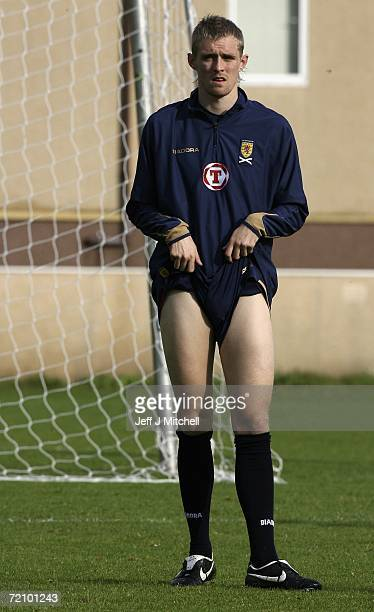 Darren Fletcher of Scotland pulls at his shorts at Lesser Hampden ahead of there Group B Euro 2008 qualifier against France October 6 2006 Glasgow in...
