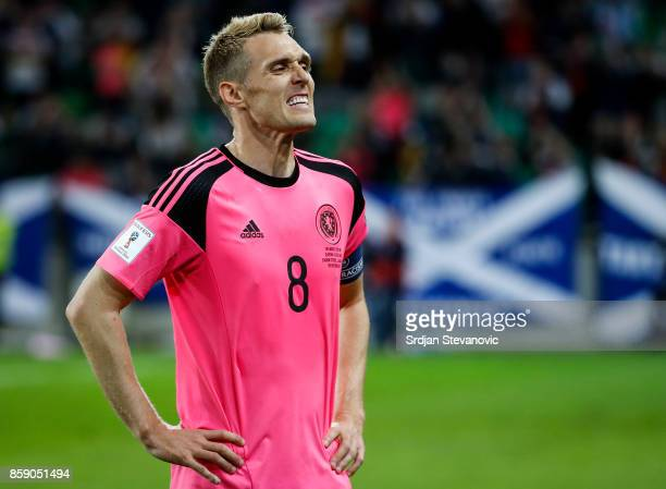 Darren Fletcher of Scotland reacts after the FIFA 2018 World Cup Qualifier match between Slovenia and Scotland at stadium Stozice on October 08 2017...
