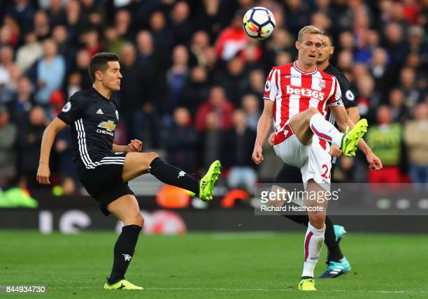Darren Fletcher of Stoke City and Ander Herrera of Manchester United in action during the Premier League match between Stoke City and Manchester...