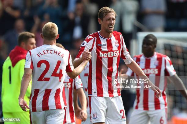 Darren Fletcher of Stoke City and Peter Crouch of Stoke City at full time during the Premier League match between West Bromwich Albion and Stoke City...