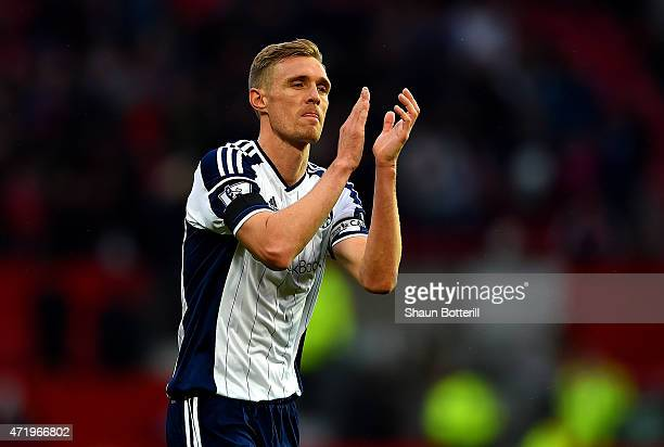 Darren Fletcher of West Brom applauds the fans after the Barclays Premier League match between Manchester United and West Bromwich Albion at Old...