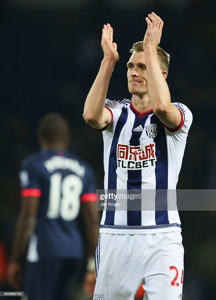 Darren Fletcher of West Bromwich Albion applauds fans after his team's 1-0 win in the Barclays Premier League match between West Bromwich Albion and Newcastle United at The Hawthorns on December 28, 2015 in West Bromwich, England.