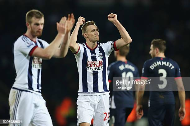 Darren Fletcher of West Bromwich Albion applauds fans after his team's 10 win in the Barclays Premier League match between West Bromwich Albion and...