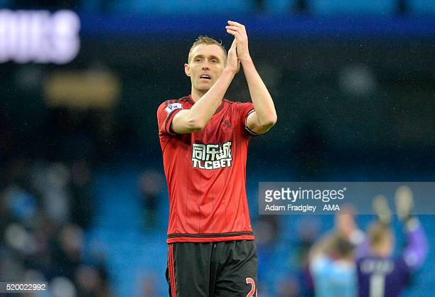 Darren Fletcher of West Bromwich Albion applauds the fans at the end of the Barclays Premier League match between Manchester City and West Bromwich...