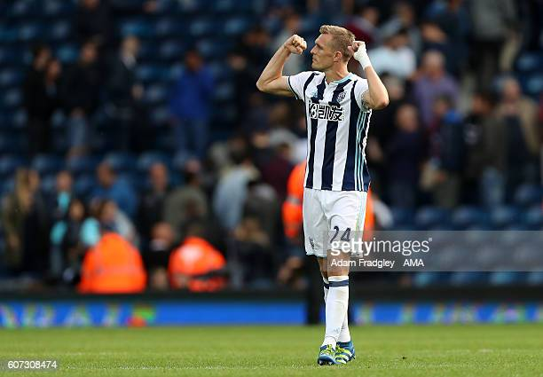 Darren Fletcher of West Bromwich Albion celebrates the 42 win at the final whistle during the Premier League match between West Bromwich Albion and...