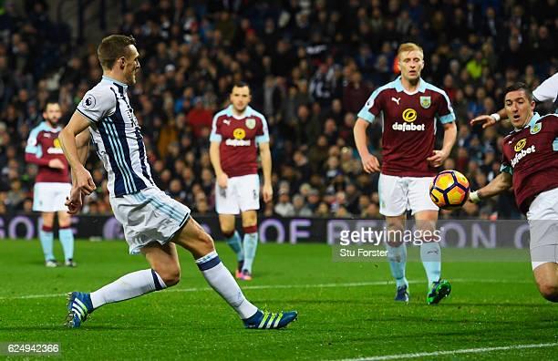 Darren Fletcher of West Bromwich Albion scores theif third during the Premier League match between West Bromwich Albion and Burnley at The Hawthorns...
