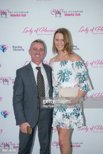 Darren Gauci and Stephanie Thornton at the Lady of Racing Award Lunch at Metropolis Events on March 08 2018 in Southbank Australia