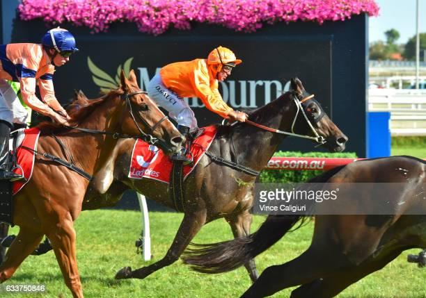 Darren Gauci riding Longeron in his last career ride in Race 9 at Caulfield Racecourse on February 4 2017 in Melbourne Australia Gauci will retire...