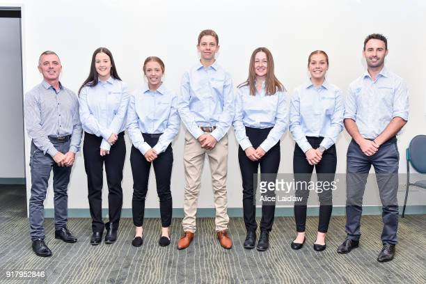 Darren Gauci Tayla Childs Tatum Bull Lohan McNeil Alana Kelly Madison Lloyd and Matt Pumpa at the Apprentice Jockeys Induction at Racing Victoria on...