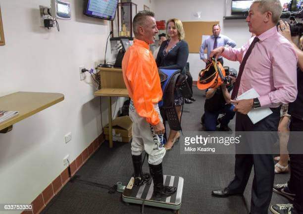 Darren Gauci weighs in before his final race at Caulfield Racecourse on February 04 2017 in Caulfield Australia