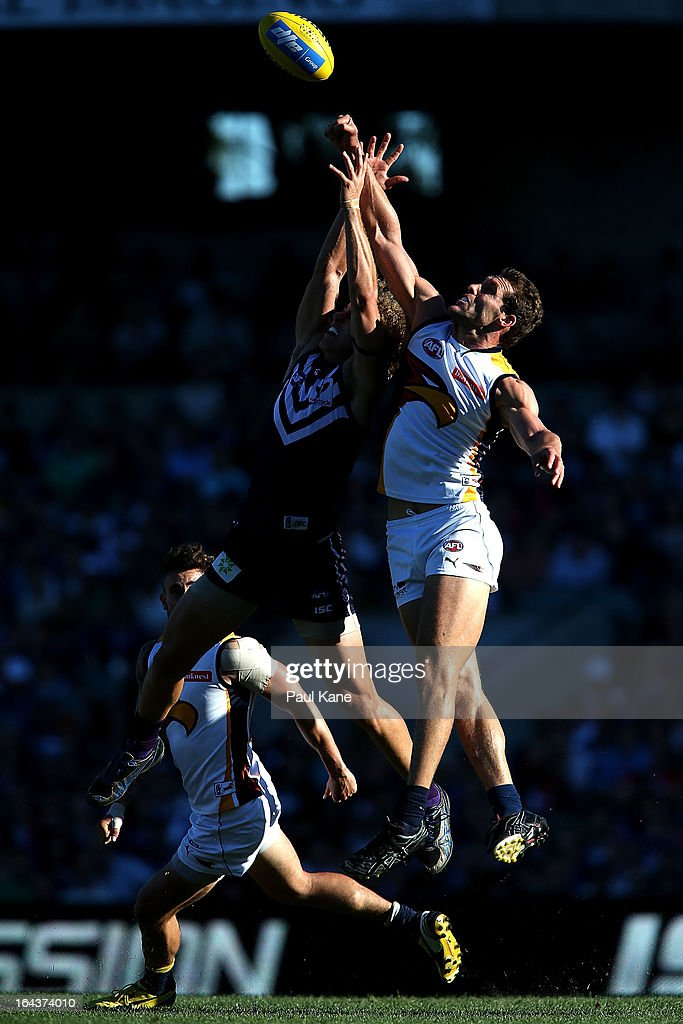 Darren Glass of the Eagles spoils the mark for Chris Mayne of the Dockers during the round one AFL match between the Fremantle Dockers and the West Coast Eagles at Patersons Stadium on March 23, 2013 in Perth, Australia.