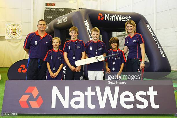 Darren Gough and Charlotte Edwards pose with the Male Under 12 finalists during the 2009 Natwest Speed Stars national final at Lord's on 26 September...
