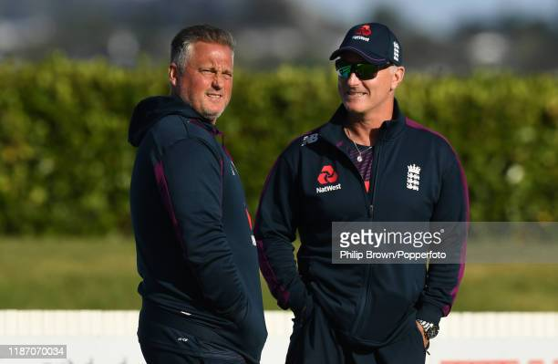 Darren Gough and Graham Thorpe of England look on during the New Zealand XI and England match at Cobham Oval on November 12 2019 in Whangarei New...
