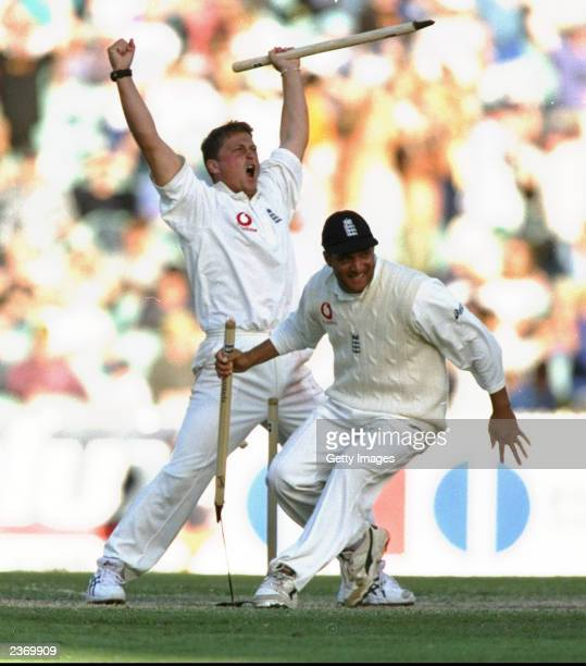 Darren Gough and Mark Butcher of England celebrate after winning the Fourth Ashes Test against Australia in Melbourne Australia England won the...