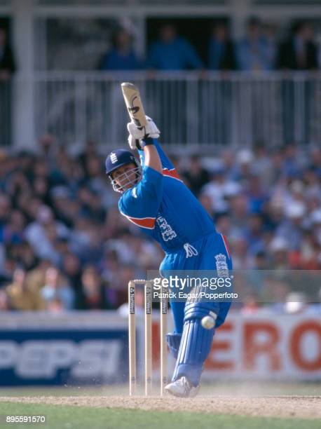 Darren Gough batting for England during the World Cup group match between England and South Africa at The Oval London 22nd May 1999 South Africa won...