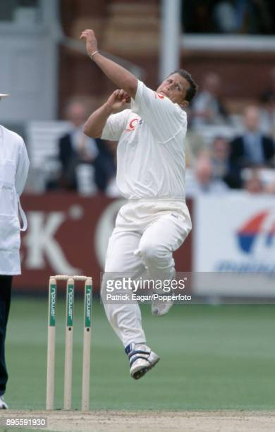 Darren Gough bowling for England during the 1st Test match between England and Pakistan at Lord's Cricket Ground London 19th May 2001 Gough took five...