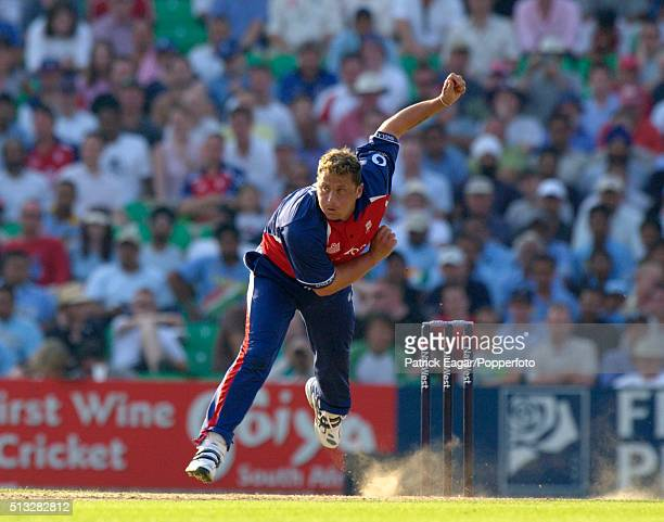 Darren Gough bowling for England during the NatWest Challenge One Day International between England and India at The Oval in which he picked up four...