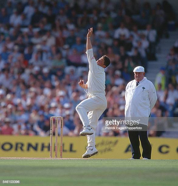 Darren Gough bowling for England during the Only Test Match between England and Sri Lanka at The Oval London 28th August 1998 The umpire is David...
