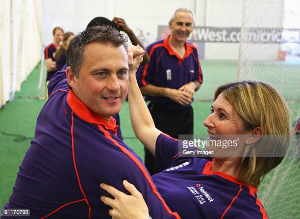 Darren Gough dances with Charlotte Edwards during the 2009 Natwest Speed Stars national final at Lord's on 26 September 2009 in London England...