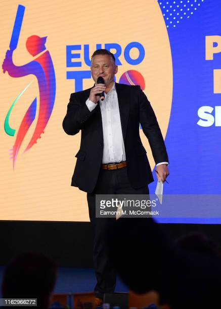 Darren Gough during the Euro T20 Slam Players' Draft at Sofitel London Heathrow on July 19 2019 in London England
