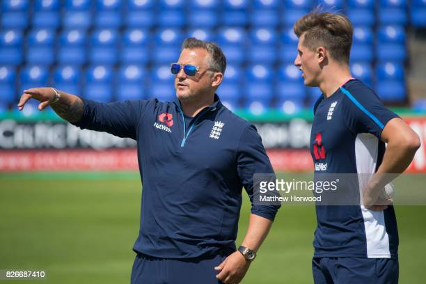 Darren Gough gestures with Jack Blatherwick during England U19 cricket training at the SSE Swalec Stadium on August 5 2017 in Cardiff Wales The Royal...