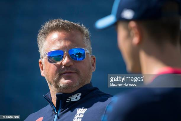 Darren Gough looks on during England U19 cricket training at the SSE Swalec Stadium on August 5 2017 in Cardiff Wales The Royal International Series...