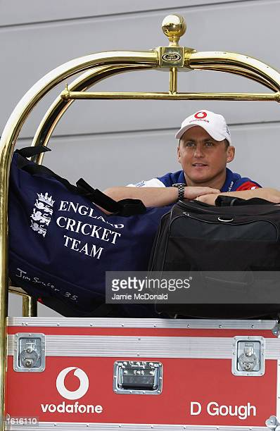 Darren Gough of England announces his fitness during the England press conference prior to their departure for the Ashes Tour held on October 16 2002...