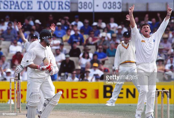 Darren Gough of England appeals for a wicket in a test match between Australia and England