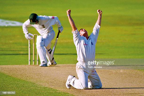 Darren Gough of England celebrates taking the wicket of Mark Boucher thus achieving his 5th wicket of the South African 2nd innings during the 5th...