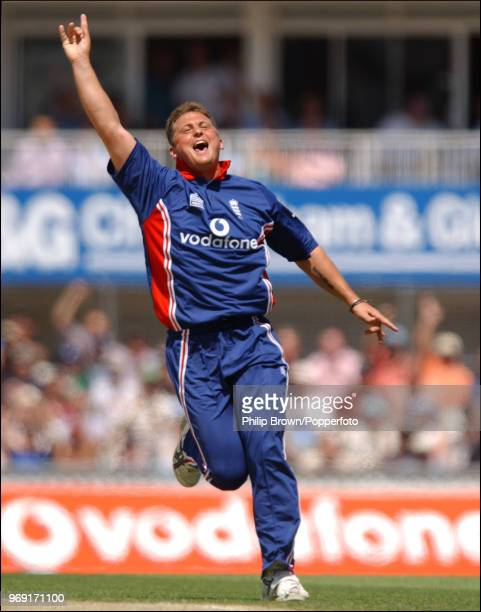 Darren Gough of England celebrates taking the wicket of Younis Khan of Pakistan during the 2nd NatWest Challenge One Day International between...