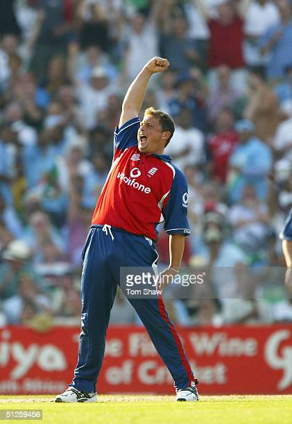 Darren Gough of England celebrates taking the wicket of Youvraj Singh of India during the Natwest Challenge match between England and India at the...