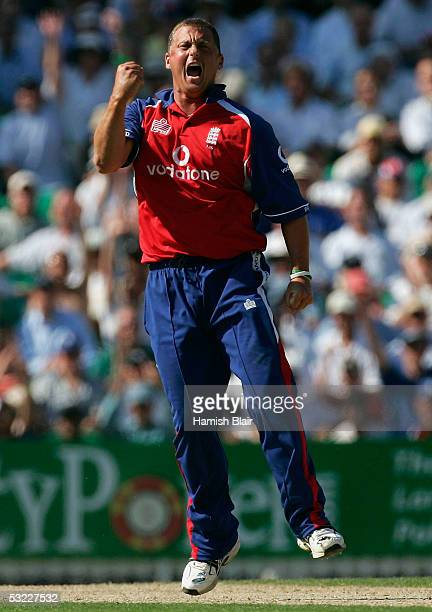 Darren Gough of England celebrates the wicket of Matthew Hayden of Australia during the NatWest Challenge One Day International match between England...