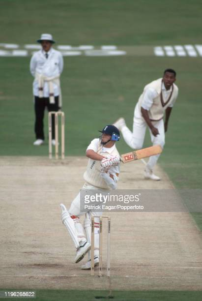 Darren Gough of England hooks his first ball from West indies fast bowler Ian Bishop and is caught on the boundary for a firstball duck during the...