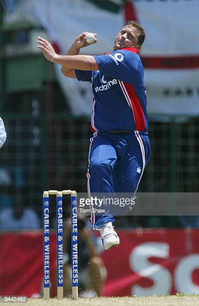 Darren Gough of England in action during the 1st One Day International match between the West Indies and England at the Bourda Cricket ground on...