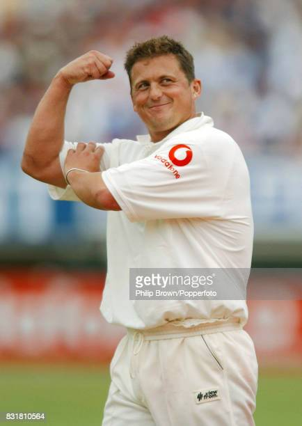 Darren Gough of England plays to the crowd after getting the wicket of South Africa's Boeta Dippenaar in the 1st Test match between England and South...