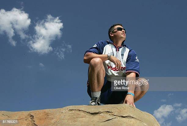 Darren Gough of England poses on a rock ahead of the tour match against Namibia on November 19 2004 in Windhoek Namibia